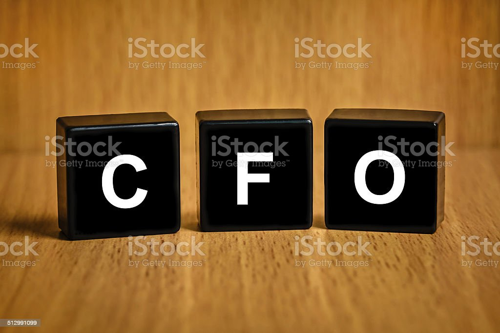 CFO or Chief financial officer word on black block stock photo