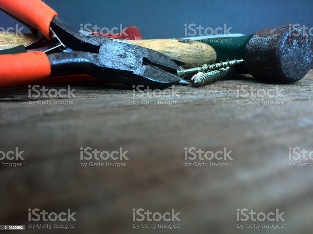 DIY or do it yourself carpentry tools in focus stock photo