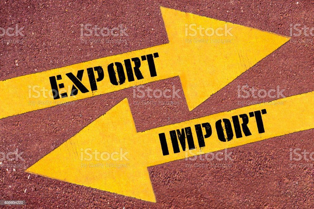 EXPORT or IMPORT , words on Two arrows stock photo