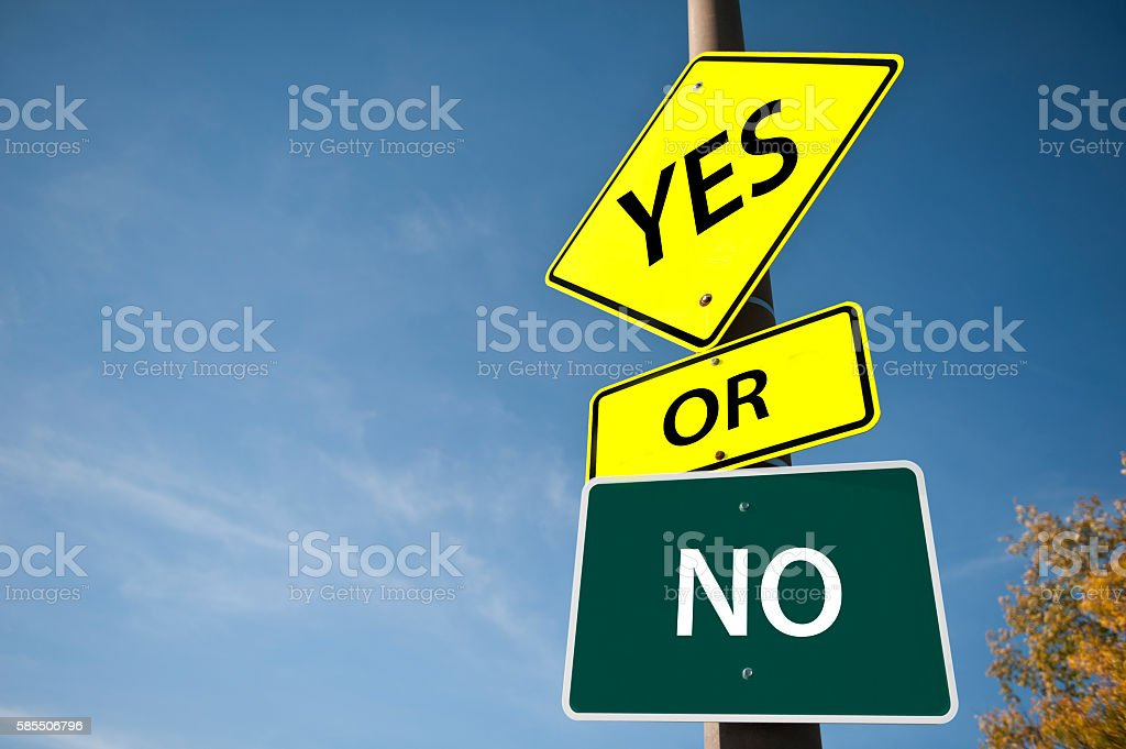 YES or NO / Road sign (Click for more) stock photo