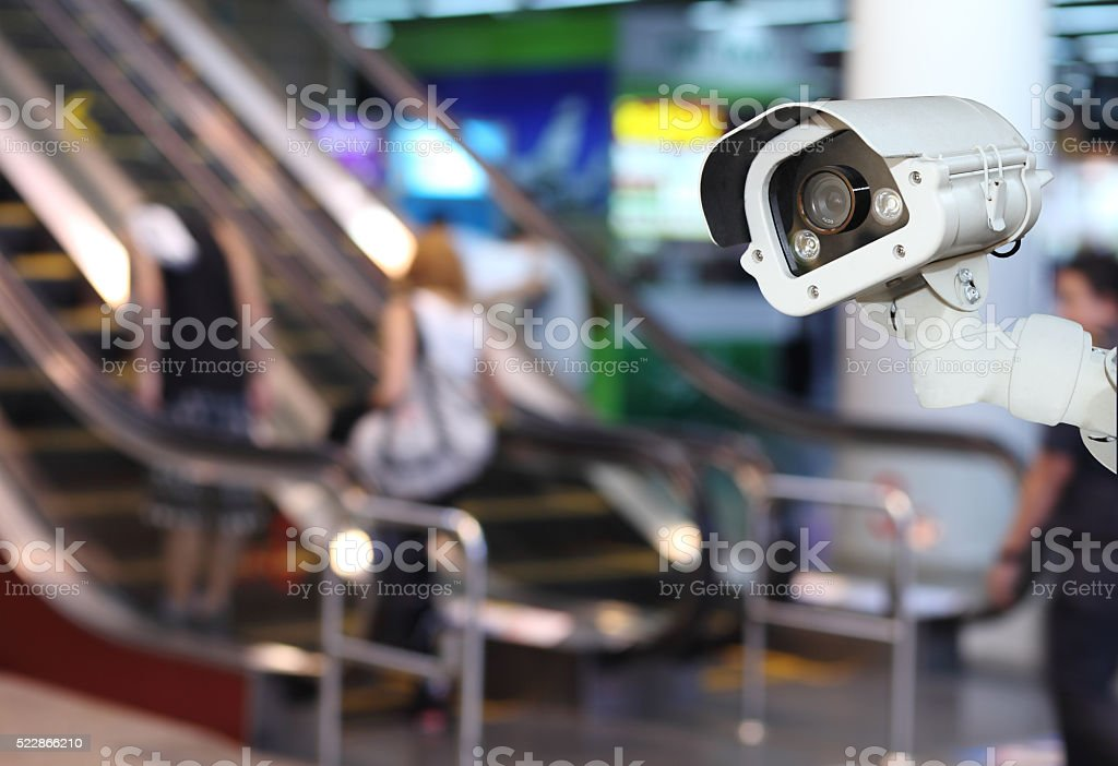 CCTV or surveillance Camera Operating inside department store stock photo