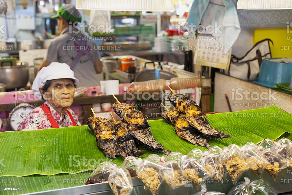 Or Tor Kor Market with food stall selling fish royalty-free stock photo
