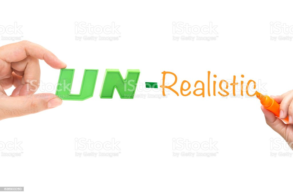 REALISTIC or UNREALISTIC , words with hands stock photo