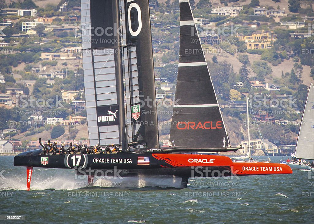 Oracle Team USA races to America's Cup Victory stock photo