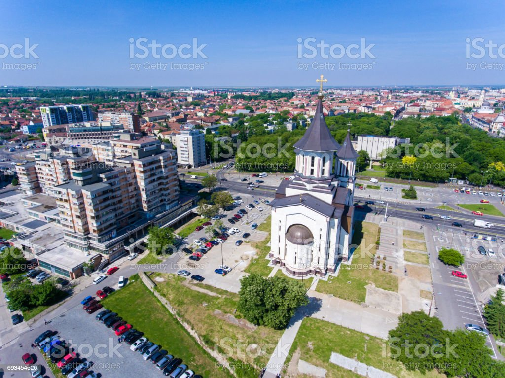 Oradea Cathedral in the city center stock photo