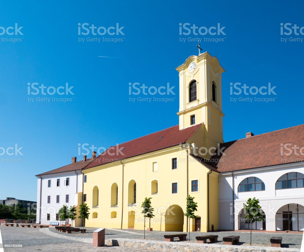 Oradea city center church in the old fortress stock photo