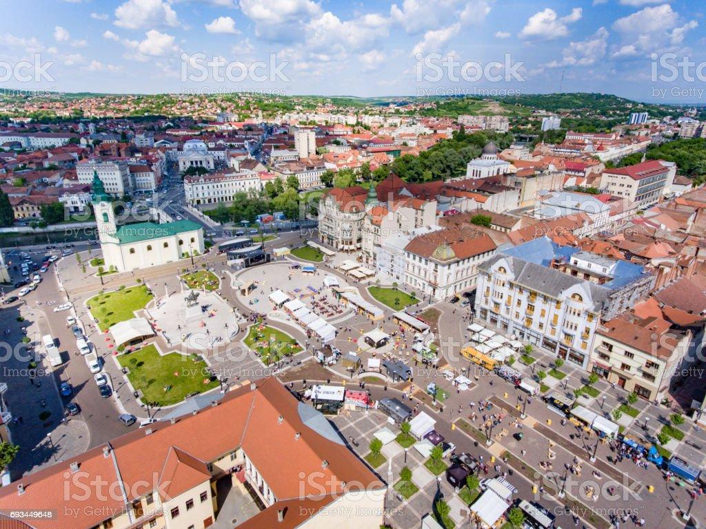 Oradea city center Union Square aerial view stock photo