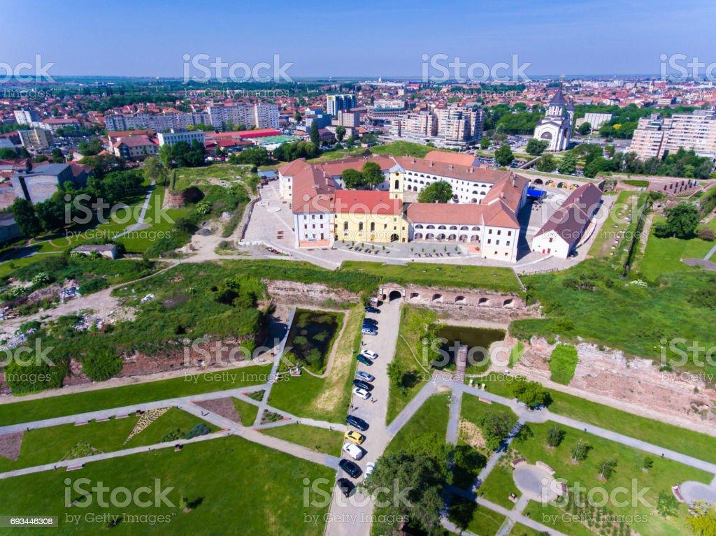 Oradea fortress aerial view stock photo