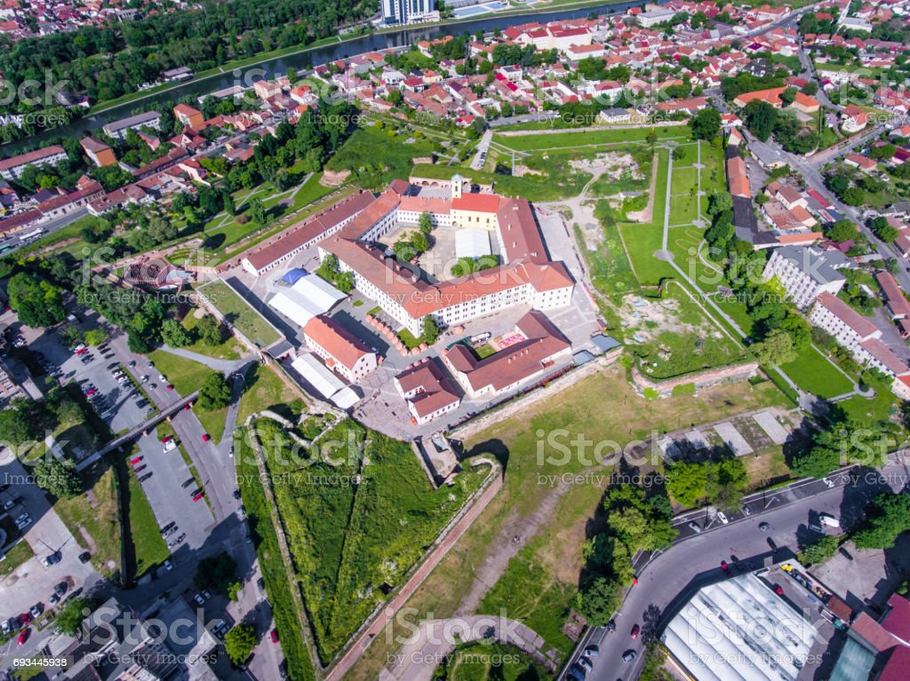 Oradea fortress city view from above stock photo