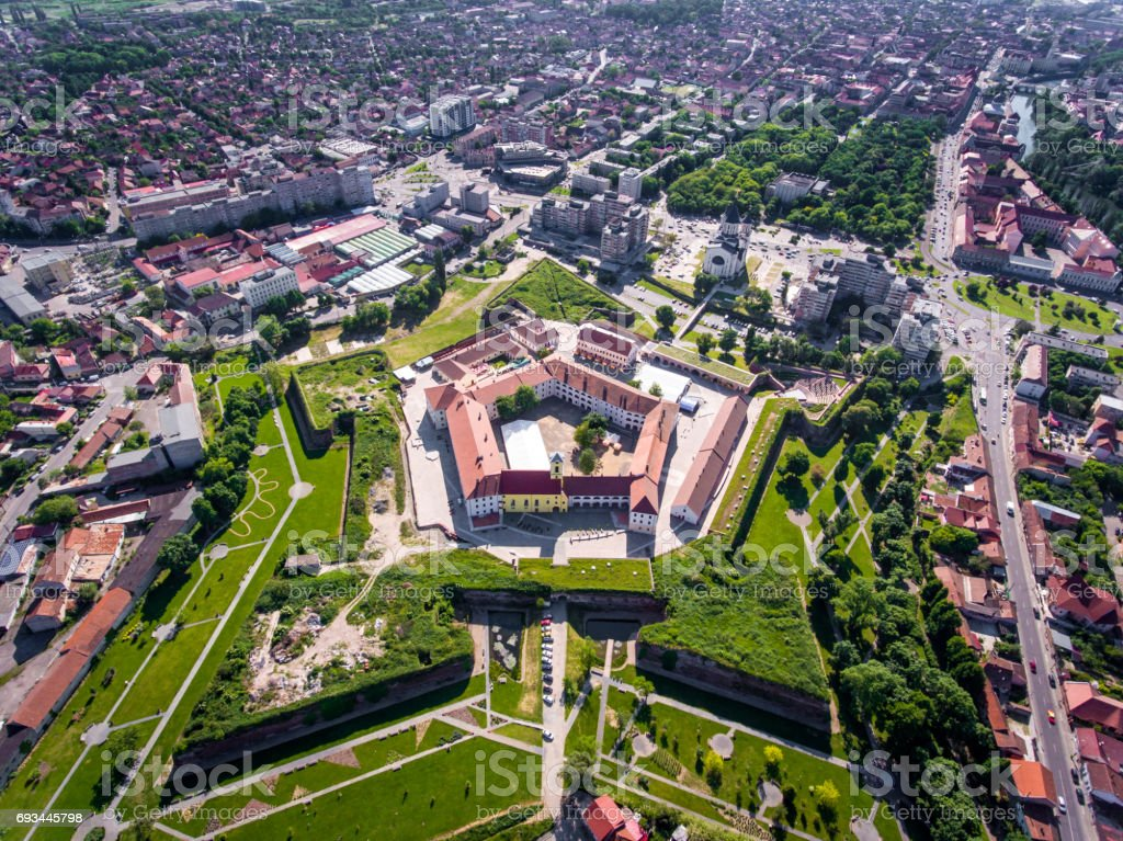Oradea medieval fortress aerial view stock photo