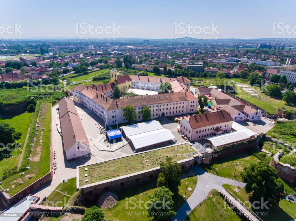 Oradea medieval fortress as seen from above stock photo