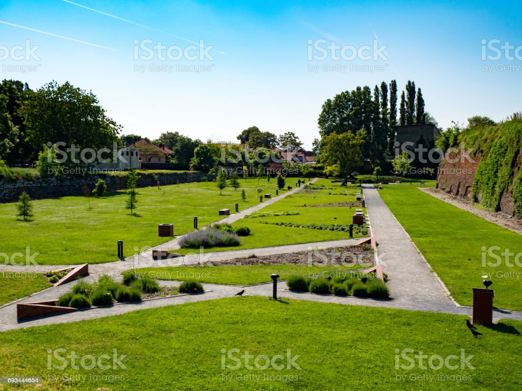 Oradea park on the outskirts of the medieval fortress stock photo