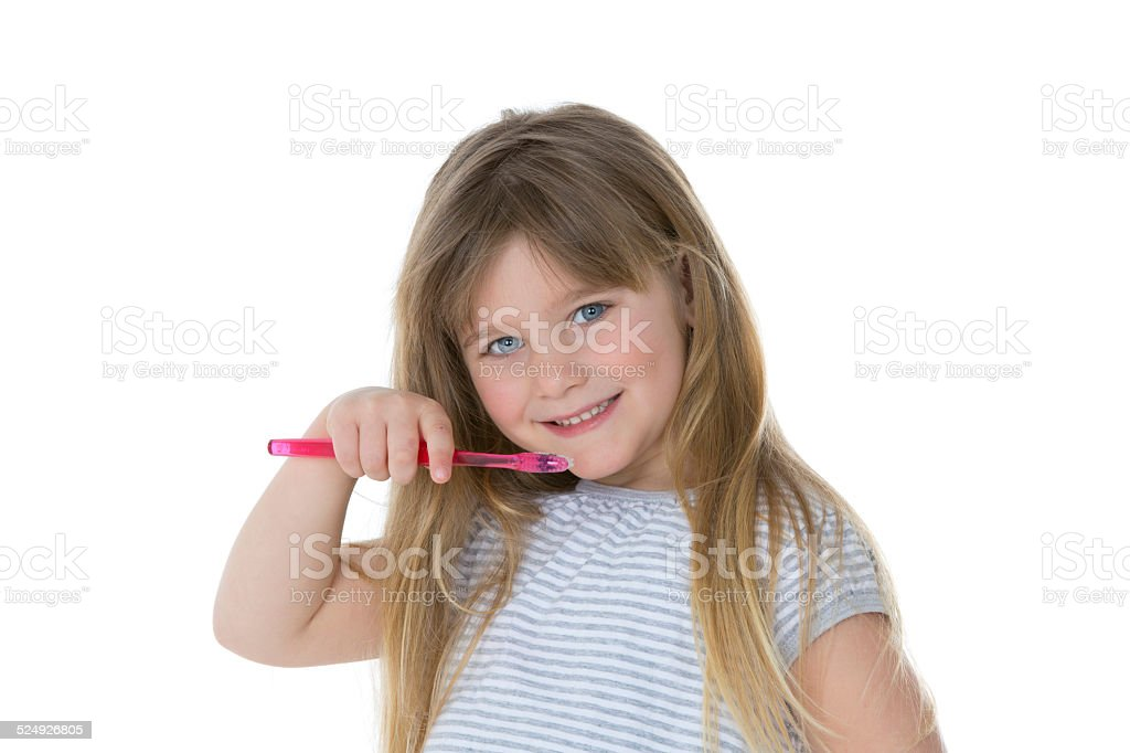 oral care by little child stock photo
