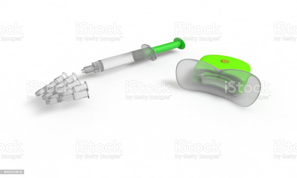 Oral-Health-Equipment, isolated on white, 3d render, working vector art illustration