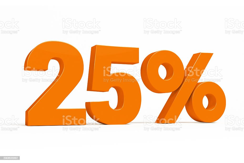 Orange 3d 25% on white background for autumn sale campaigns. stock photo