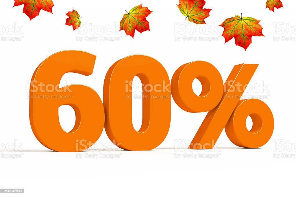 Orange 3d 60 % with leaves for autumn sale campaigns. stock photo