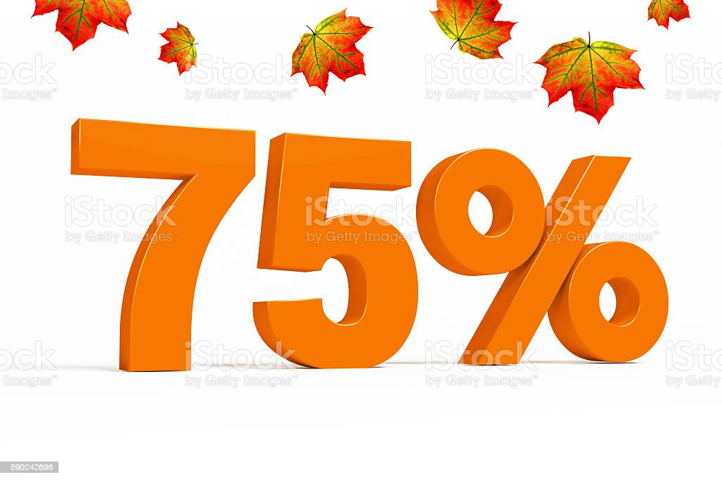 Orange 3d 75 % with leaves for autumn sale campaigns. stock photo