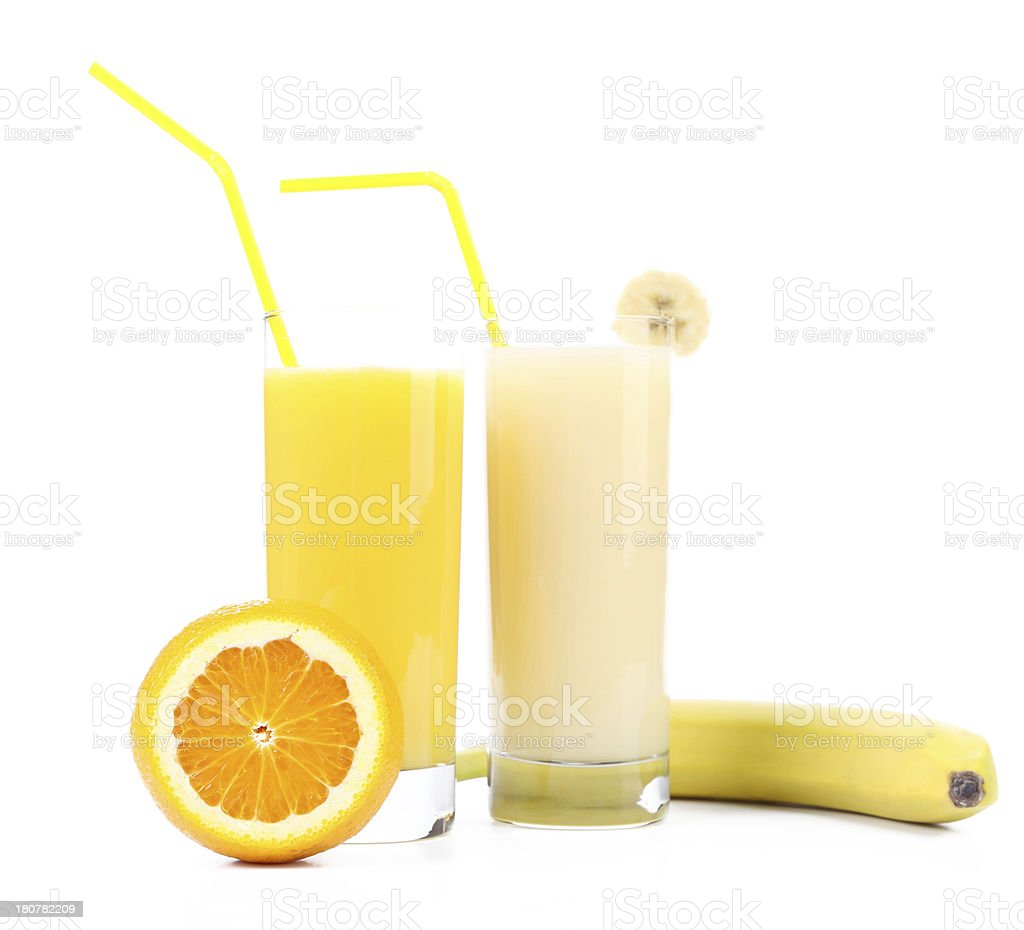 Orange and banana juice. royalty-free stock photo