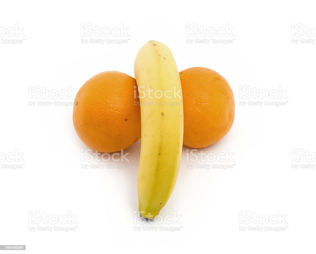 Orange and banana stock photo
