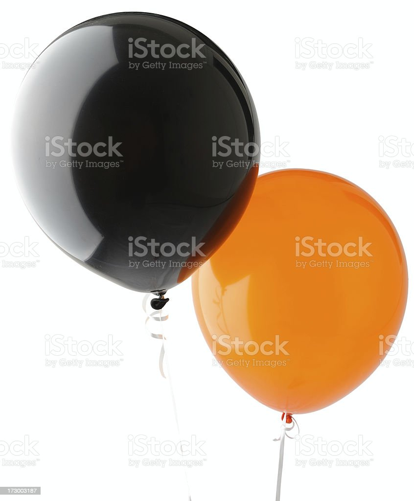 Orange and Black Balloons on Isolated White Background stock photo