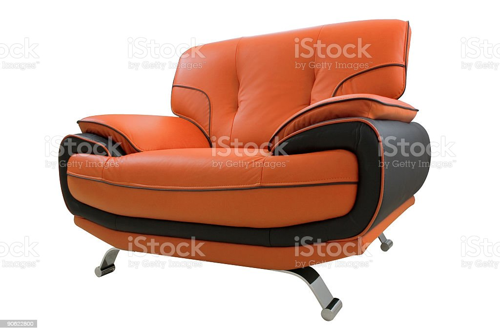 Orange and black leather armchair isolated on white royalty-free stock photo