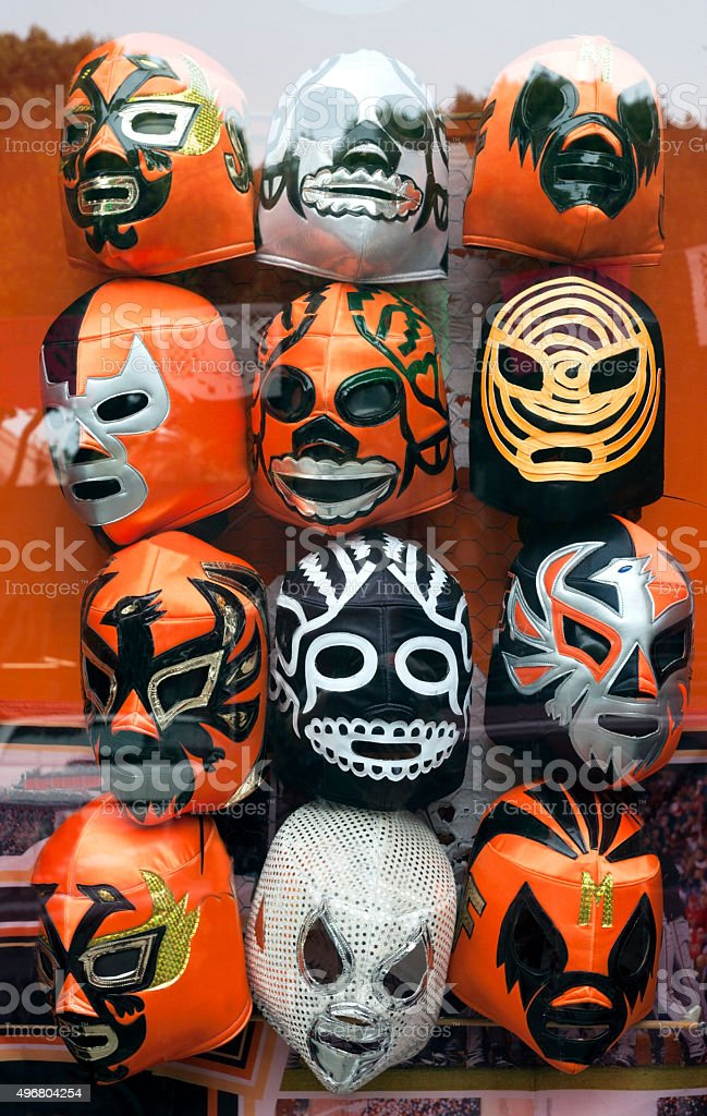 Orange and Black Lucha Libre Masks stock photo
