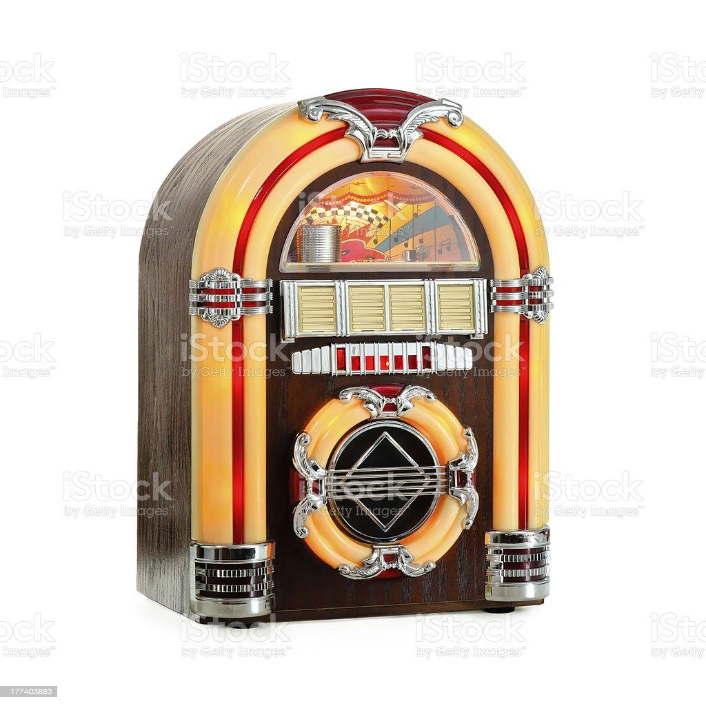 Orange and black retro jukebox on white background  stock photo
