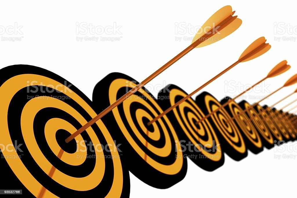 Orange and black target with arrow royalty-free stock photo