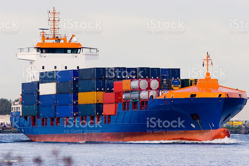 Orange and blue container ship royalty-free stock photo