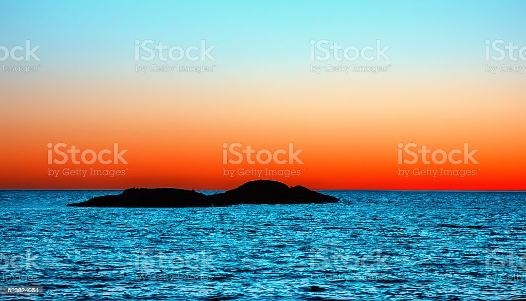 Orange and Blue Night Seascape stock photo
