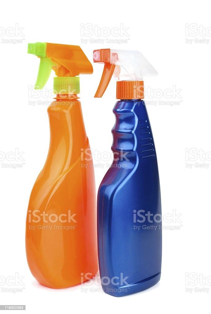 Orange and blue sprayer bottles stock photo