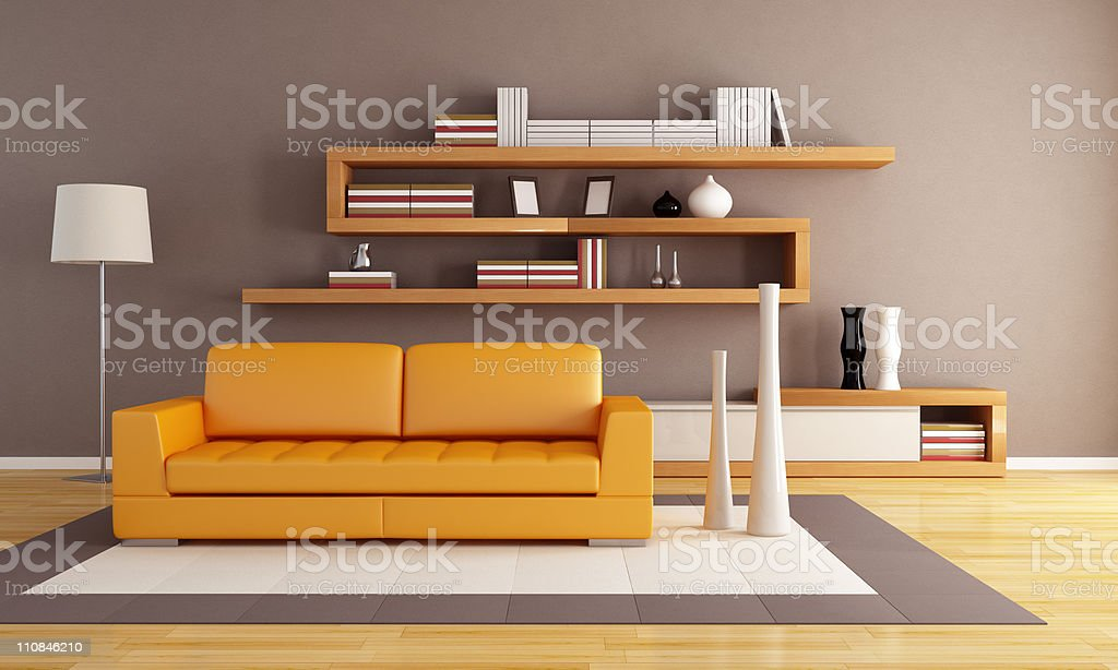 orange and brown living room royalty-free stock photo
