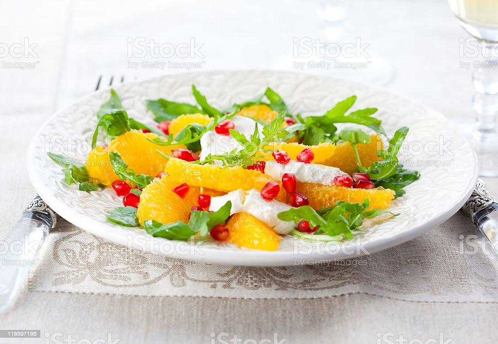 Orange and cheese salad stock photo