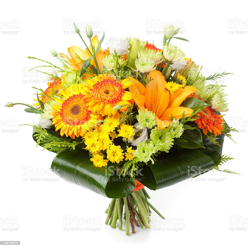 Orange and green flowers bouquet stock photo