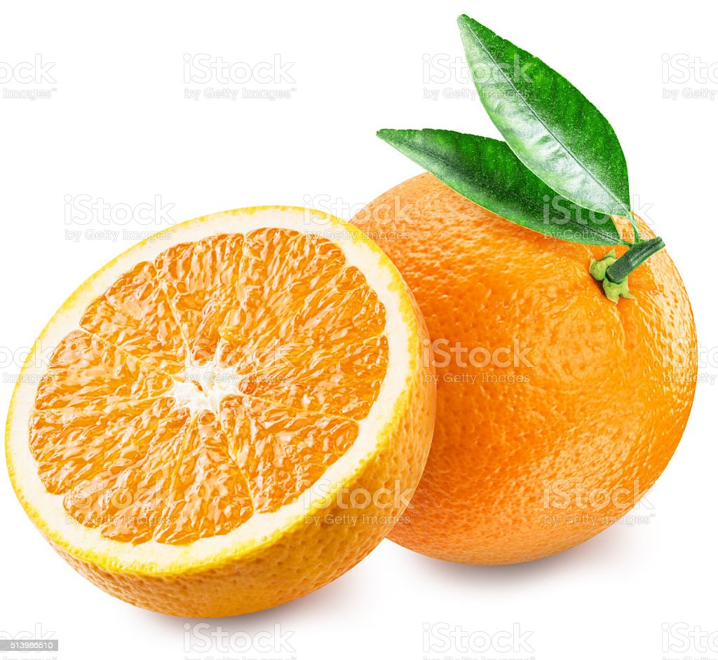 Orange and half of fruit. stock photo