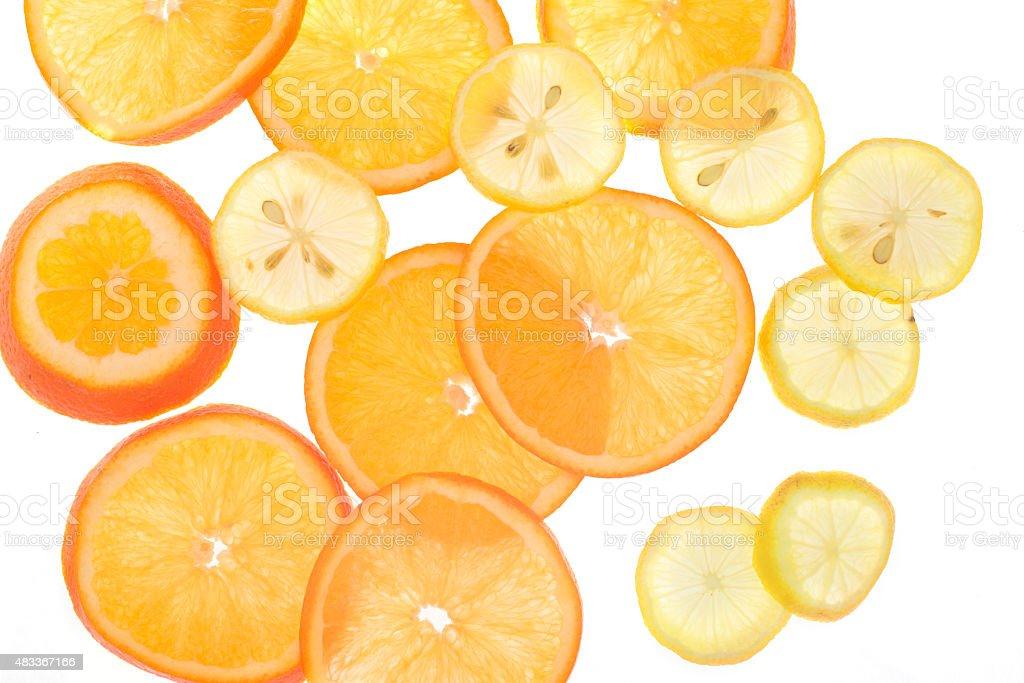 orange and lemon slices backlight, see-though, stock photo