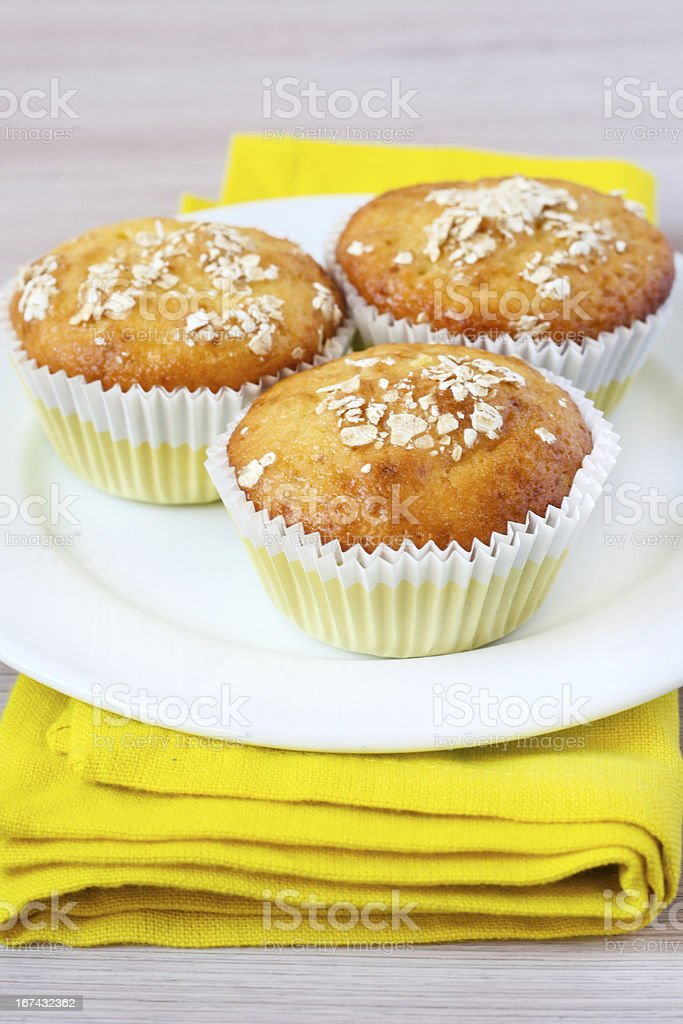 Orange and oat muffins royalty-free stock photo