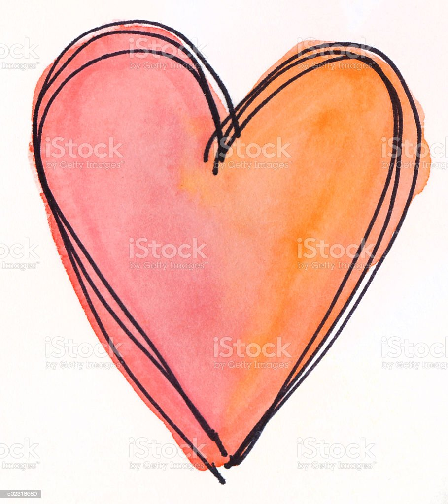 Orange and pink hand painted heart on isolated white background vector art illustration