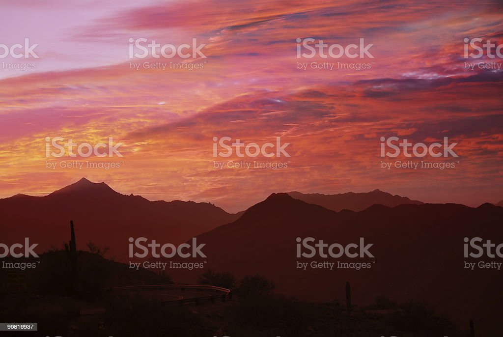 orange and red desert sunset royalty-free stock photo