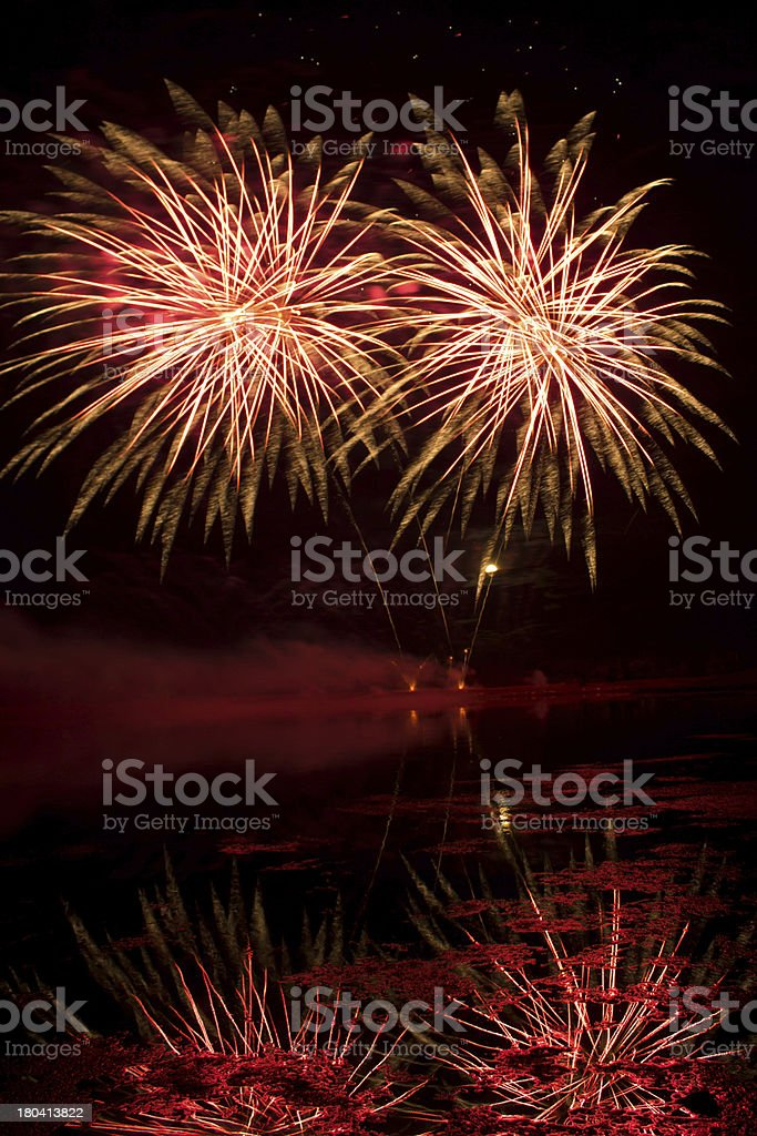 Orange and Red Fireworks royalty-free stock photo