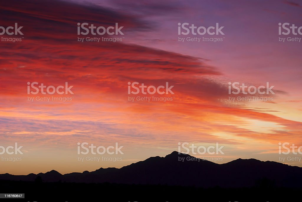 Orange and red sky at sunset royalty-free stock photo
