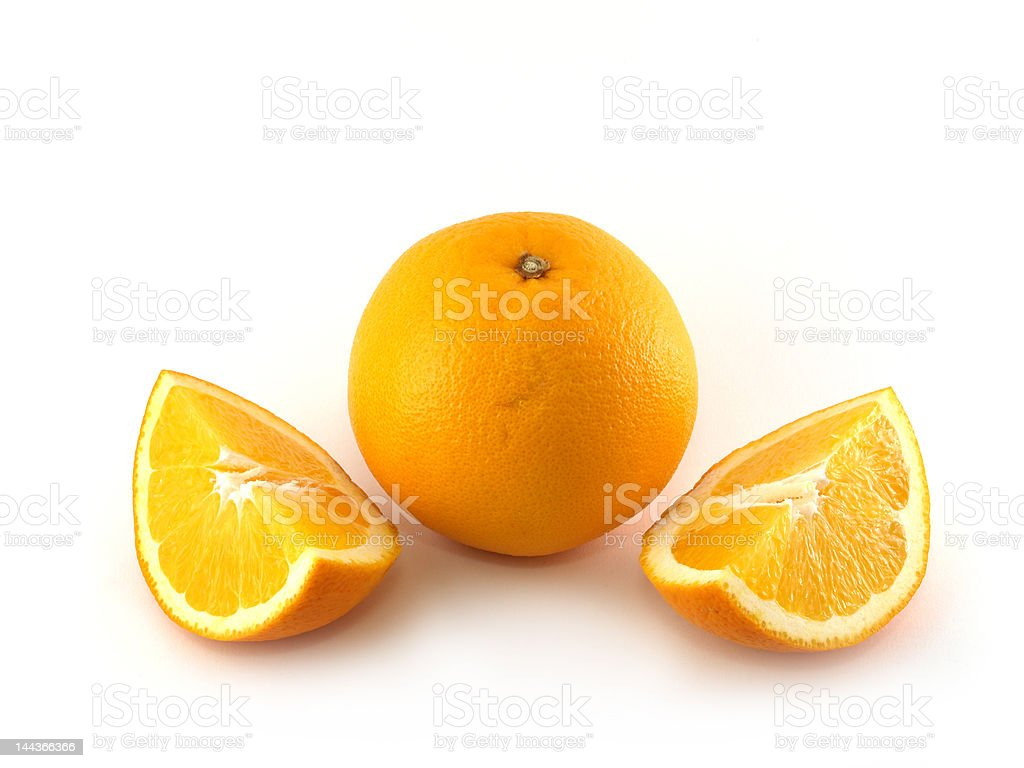 Orange and two slices royalty-free stock photo