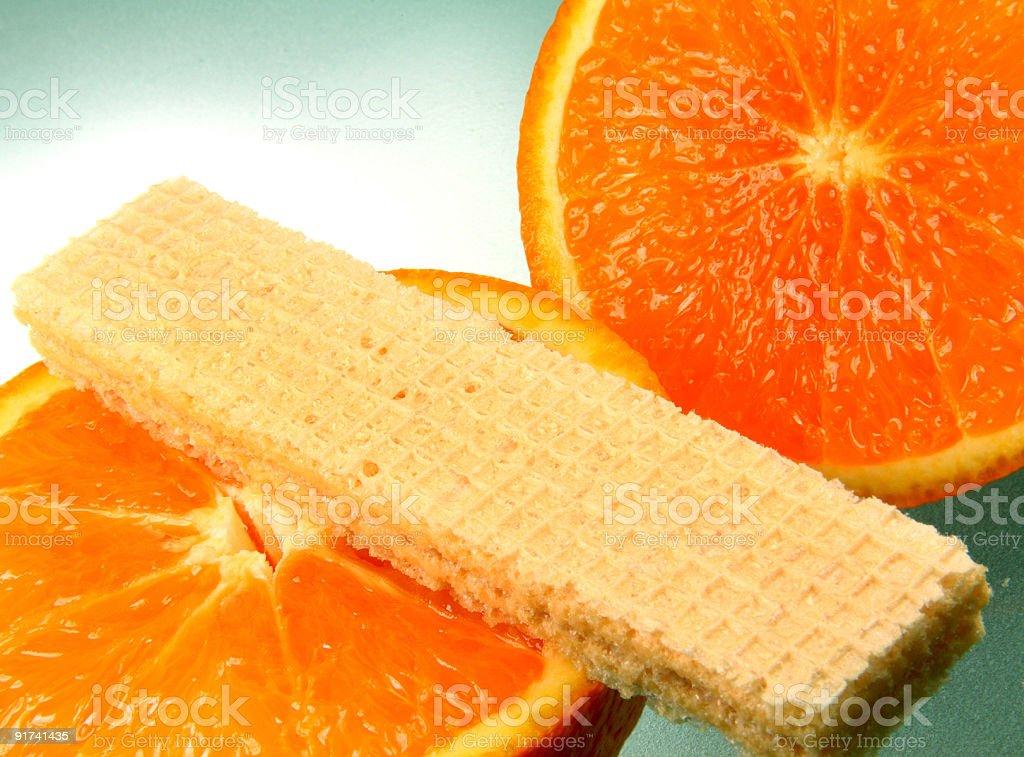 Orange and waffle royalty-free stock photo