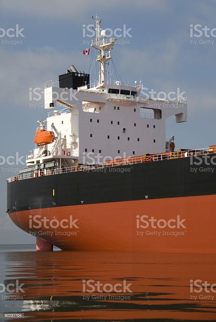 Orange and white Canadian freighter ship's bridge royalty-free stock photo