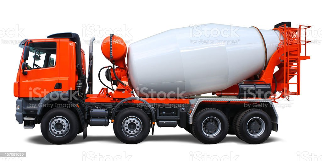 Orange and white cement mixer truck stock photo