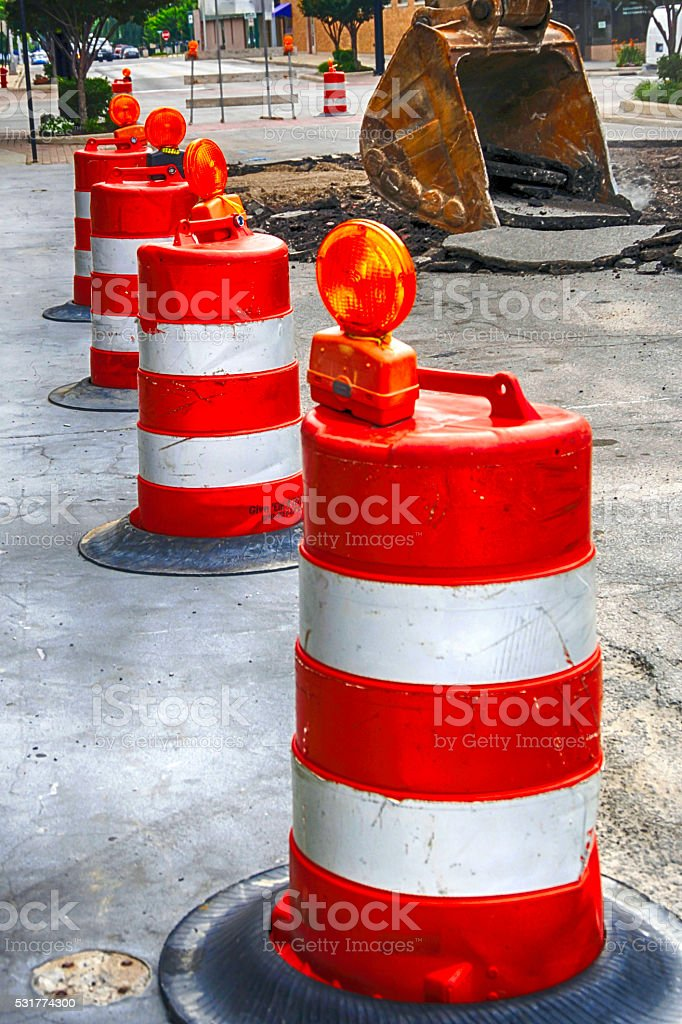 Orange and White roadway safety cones stock photo