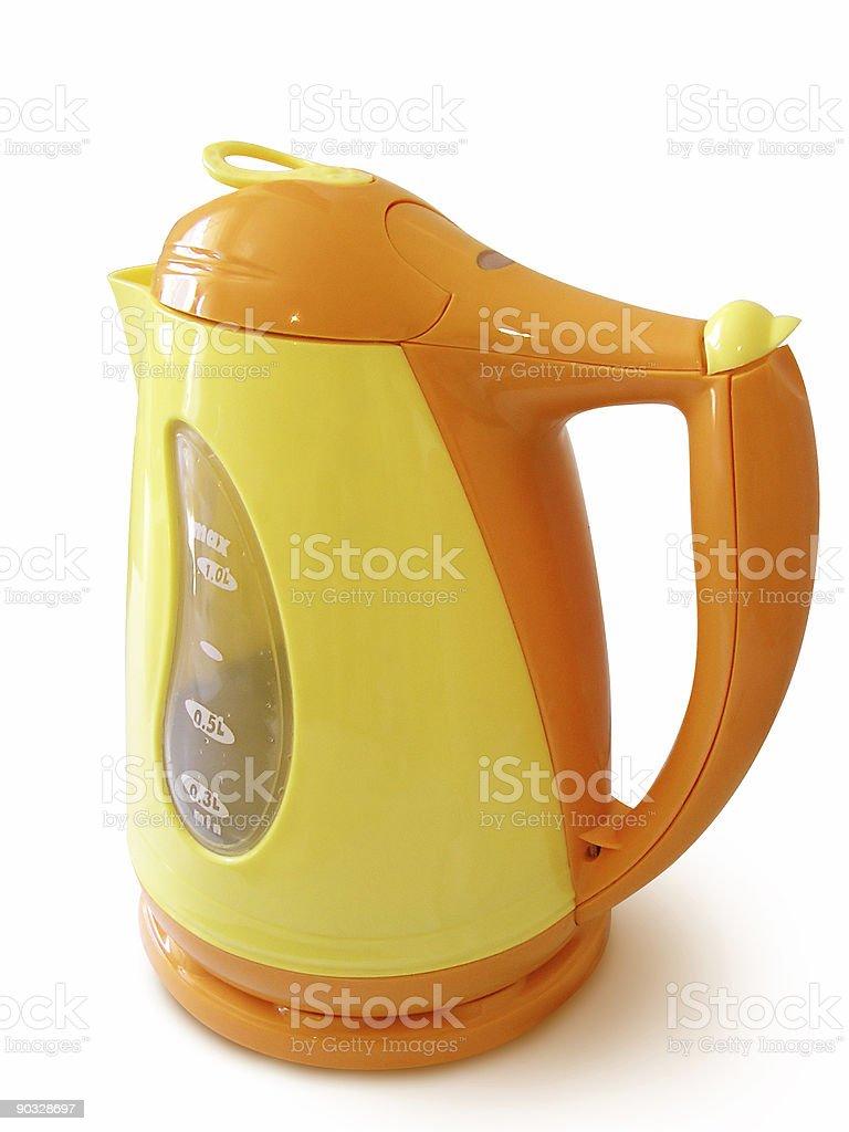 Orange And Yellow Cordless Jug Kettle royalty-free stock photo