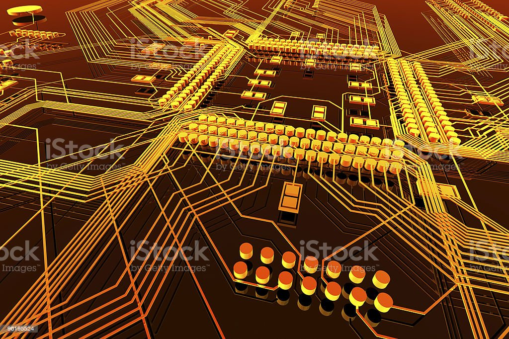 Orange and yellow illustration of circuit board royalty-free stock photo