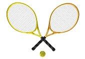 orange and yellow tennis rackets
