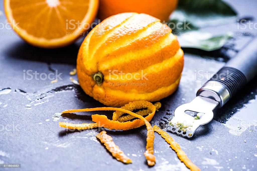 Orange and zest, natural refreshing ingredients stock photo